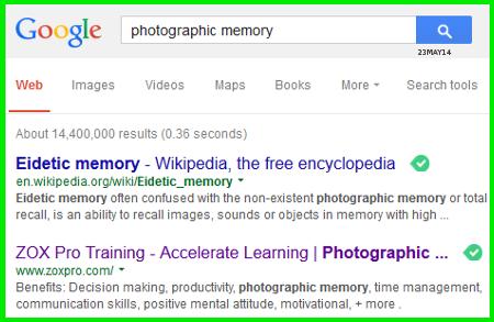 photographic memory, eidetic memory, google, zox pro training